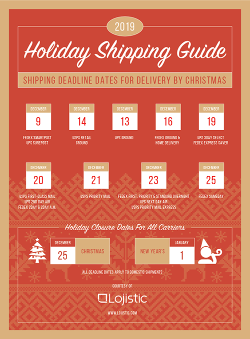 2019 Holiday Shipping Deadline Calendar